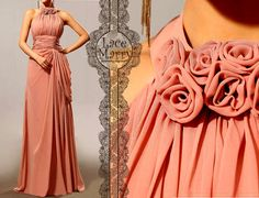 Jewel Neckline Long Chiffon Dress in Greek Style - Blush Pink Floor Length Bridesmaid Dress with Jewel Neckline Design