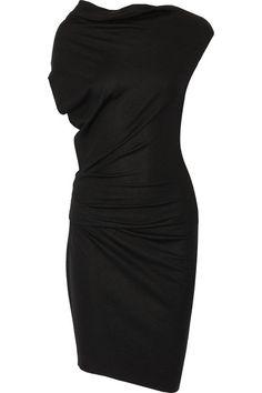 Helmut Lang Asymmetric gathered wool dress