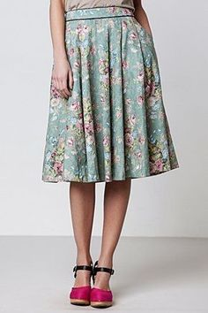 Floral skirt, pink shoes