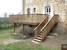 Haute-Vienne 87 Moissannes Terrasse en Bois sur Poteaux avec Escalier