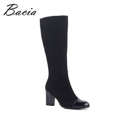 Bacia New 2016 Fashion Women Sheep Suede Boots Square Heel Shoes Winter Plush Boots Suede Boots For Woman Knee High Boots VC029