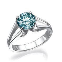 14K YELLOW GOLD SOLITAIRE DIAMOND RING NATURAL 1.01 CT ROUND FANCY TURQUOISE VS2