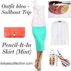 """""""Mint Pencil Skirt - Sailboat Trip Outfit Idea"""" by mstravesura on Polyvore"""