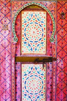 Door in Morocco Pinning this for the colors and patterns inspiration