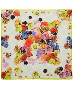 Multicoloured floral print silk scarf from the Paul Smith Accessories collection. This printed silk scarf features a bouquet of blossoming flowers that will brighten up a simple outfit – the square shape also makes it extremely versatile for styling #AScarfADay