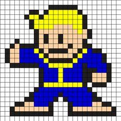 Fallout Vault Boy Perler Bead Pattern