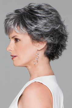 Find the Conviction Wig by Gabor Wigs. Comb it smooth or full, this short, classic cut is loaded with conviction! Short Wavy Pixie, Short Grey Hair, Short Hair With Layers, Short Pixie Haircuts, Short Hair Cuts For Women, Curly Bob Hairstyles, Trending Hairstyles, Curly Hair Styles, Pixie Cuts