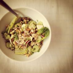 Heeding the call of the #vegan #breakfast #salad. Apple, celery, carrot, red onion, little gems, walnuts, chilli, mustard vinaigrette. by monica.shaw, via Flickr Breakfast Salad, Vegan Breakfast, Vinaigrette, Guacamole, Potato Salad, Carrots, Cabbage, Salads, Brunch