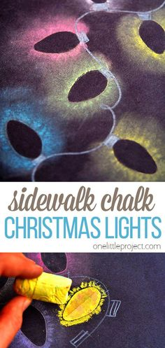 These chalk Christmas lights are so easy to make, and the effect is really cool! It looks just like the light bulbs are glowing in the dark! The brighter the colours of your chalk, the better. And if they are broken scraps like ours were, no problem! This is such a fun craft to do with the kids while they are home for the holidays!