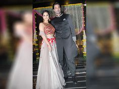 Sunny Leone along with her husband Daniel Weber during Aamir Khan's Diwali celebrations
