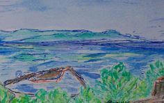 """Pier overview of the lake, Watercolor on Paper, 4"""" x 6"""", 2005"""