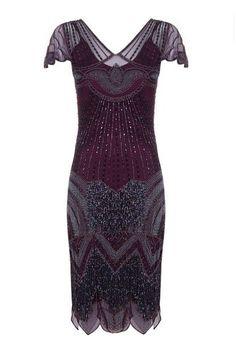 Beatrice Fringe Flapper Dress in Plum