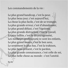 Les commandements de la vie The commandments of life The post The commandments of life appeared first on Trending Hair styles. Sense Of Life, French Quotes, Good Notes, Teaching French, Good Vibes Only, Positive Attitude, Positive Affirmations, Cool Words, In This World