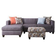 Perfect for moving nights and hosting guests for the big game, this versatile sectional sofa showcases charcoal-hued upholstery and a sleek silhouette. The c...