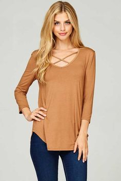 Lime N Chili Criss Cross Long Sleeve Top for Women in Almond LT2195-ALMOND