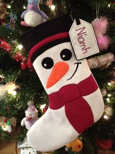 Handmade Felt Snowman Stocking  Made to order at www.funkyelephant.co.uk © Funky Elephant