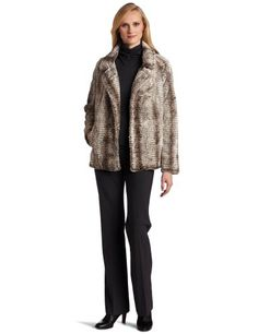 Karen Kane Women`s Notch Collar Faux Fur Jacket $94.25