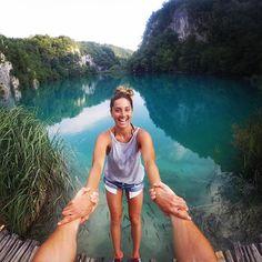 @christianmiranda hangs on to @sandranatoli as they check out Sandra Plitvice Lakes, Croatia. Submit your travel content through gopro.com/awards. #GoPro #BEAHERO #GoProANZ