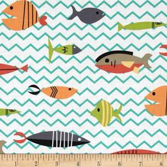 Michael Miller Atomic Tabbys Somethings Fishy Multi from @fabricdotcom  Designed for Michael Miller Fabrics, this cotton print includes colors of orange, lime, aqua, grey and white. Use for quilting, crafts, apparel and home decor accents.