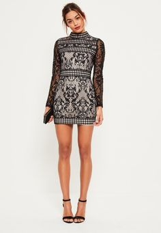 Missguided - Black Lace Long Sleeve High Neck Bodycon Dress
