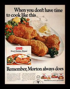 Items similar to 1968 Frozen Fried Chicken Dinner Ad by Morton - Wall Art - Home Decor - Kitchen - Retro Vintage Food Advertising on Etsy Frozen Fried Chicken, Fried Chicken Dinner, Leftover Fried Chicken Recipes, Chicken Lunch Recipes, Retro Recipes, Vintage Recipes, Vintage Food, Retro Vintage, 1960s Food