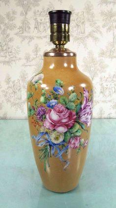 Antique Limoges Vase: Hand Painted Porcelain Table Lamp Floral Signed
