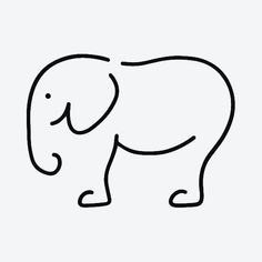 Easy Elephant Drawing, Easy Animal Drawings, Easy Doodles Drawings, Easy Doodle Art, Art Drawings Sketches Simple, Cute Drawings, Drawing Ideas, Cow Drawing, Circle Drawing