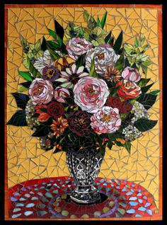 """Flowers in a Sunny Room - Glass Mosaic on board 31"""" x 23"""" Bright floral arrangement on a red tablecloth in a room filled with sunshine Framed in black wood"""