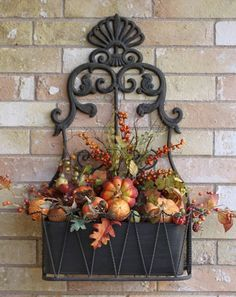 Tracy's Trinkets and Treasures: Fall Porch Decorating Pt 4 Another Metal Container. Autumn Decorating, Porch Decorating, Decorating Ideas, Decor Ideas, Craft Ideas, Smash Book, Fall Arrangements, Floral Arrangement, Fall Planters