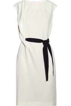 Draped crepe dress: black and white