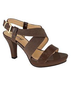 Chocolate Crossover Daphny Lizard-Embossed Sandal