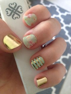 I love my Jamberry combo! Vintage chic, metallic gold, and mint green/gold pinstripe #jamberry #perfection http://crystaleifert.jamberrynails.net/