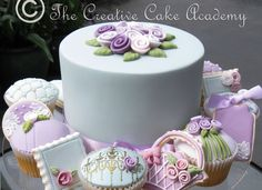 Virtual tour of The Creative Cake Academy wedding, celebration, cupcakes, mini cakes, and cookie designs that have formed part of our cake decoration courses.