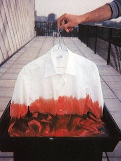 """efedra: """"Not In Our Name by Dries Van Noten"""" Just think you could take white clothing with stains and dye them into a new piece of clothing. Look Fashion, Fashion Details, Diy Fashion, Mens Fashion, Fashion Design, Red Fabric, How To Dye Fabric, Tie Dye Crafts, Diy Clothing"""