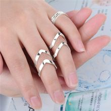 Moda del estilo que restaura maneras antiguas mujeres de doble V mediados anillo de tres piezas caliente venta(China (Mainland))