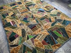 "$165 Antique c1890 VICTORIAN VELVET Crazy QUILT 78x60"" Fantastic Fabrics! www.Vintageblessings.com"