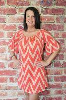 Coral Bell Sleeve Chevron Dress