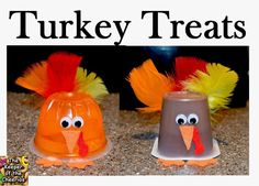 Thanksgiving is around the corner, last minute fun treat for the kids Turkey Pudding Cups and Turkey Jello cups