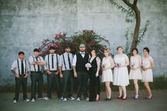 Bride in black, Bridesmaids in white, casual groom and groomsmen in black and gray. #wedding Image by @GALAXIE ANDREWS