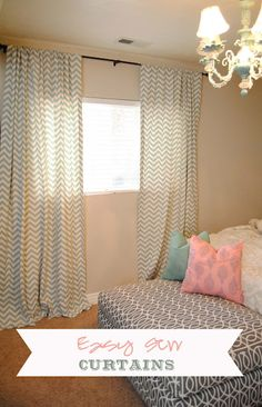 Easy Sew Curtains (I love it because you can pick any pattern of fabric you like!)