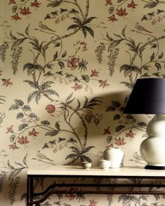 Zoffany Chambalon (TRA02003). Roomset shown in same or different colourway. Trade Tour. (Has a metallic shimmer in real life)