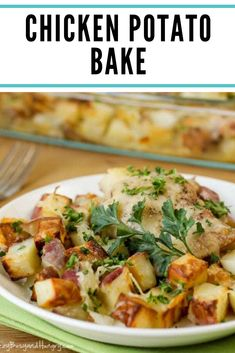 CHICKEN POTATO BAKE Potatoes tossed in garlic and olive oil and baked to a golden brown with tender, juicy chicken thighs. Chicken Potato Bake, Chicken Potatoes, Baked Chicken, Easy Casserole Dishes, Casserole Recipes, Chicken Thigh Casserole, Chicken Makhani, Chicken Teriyaki Recipe, Chicken Fajitas