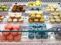 The macaron display at Soirette in Vancouver, British Columbia.