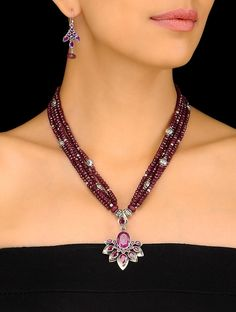 Buy Pink Silver Ruby Beaded Necklace with a Pair of Earrings (Set 2) Agate Jewelry Necklaces/Pendants Moonlight Rock Handmade fashion and semi precious stones Online at Jaypore.com