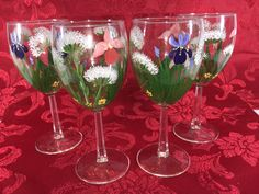 Hand painted Wine Glasses 4pc. Clear with no chips or cracks. 7tall. 3 wide.