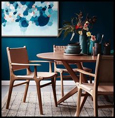 Juxtaposition. Moody blues with hints of copper; the perfect foil for nude, raw leather and beautiful, natural timber. Works like a charm. From the new @barnaby_lane campaign, styled by me and captured by @evegwilson. Chairs by #barnabylane - table by @mhayesfurniture - ceramics by @marmosetfound - rug by @halcyonlake - original art by @teganlloydart #interiors #styling #diningroom #moody #leather #ceramics #art #interiorinspiration #blue Thanks to @joy.designco and @sarahelshaug for bei...
