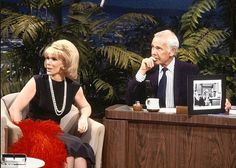 Joan and Johnny look back at her first performance on his show | from black and white to color... but then Joan has always been colorful! #JOANRIVERS #COMEDYQUEEN