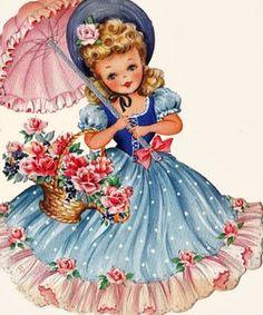 Free Vintage Digital St&s Retro Image Sweet Umbrella Gal Wallpaper