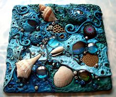Mosaic Tile 'Low Tide' | This is a mosaic tile I made with p… | Flickr
