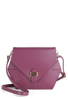 Hexagon the Town Bag - Purple, Solid, Buckles, Faux Leather